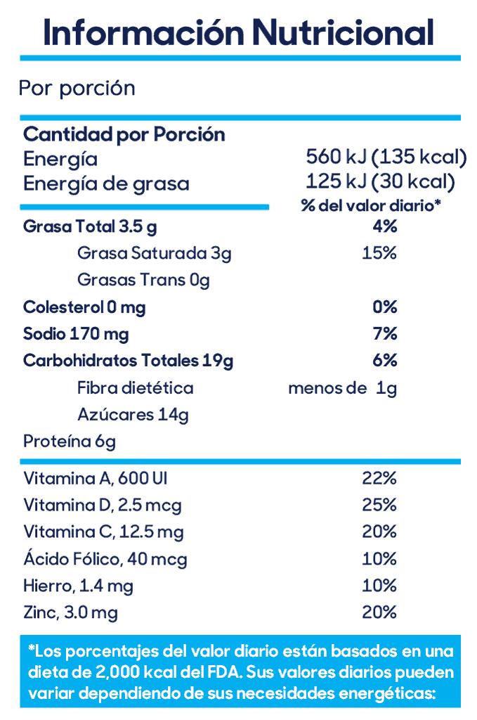 Información Nutricional Delisoy Vainilla