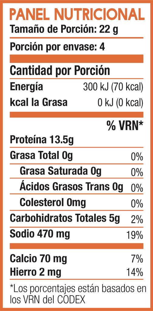 Tabla Nutricional de Res Texturizada - Delisoy