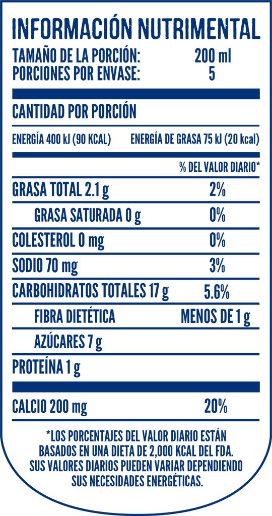Tabla Nutricional Delisoy Almendras