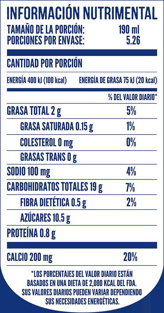 Tabla nutricional de Delisoy Almendras Vainilla